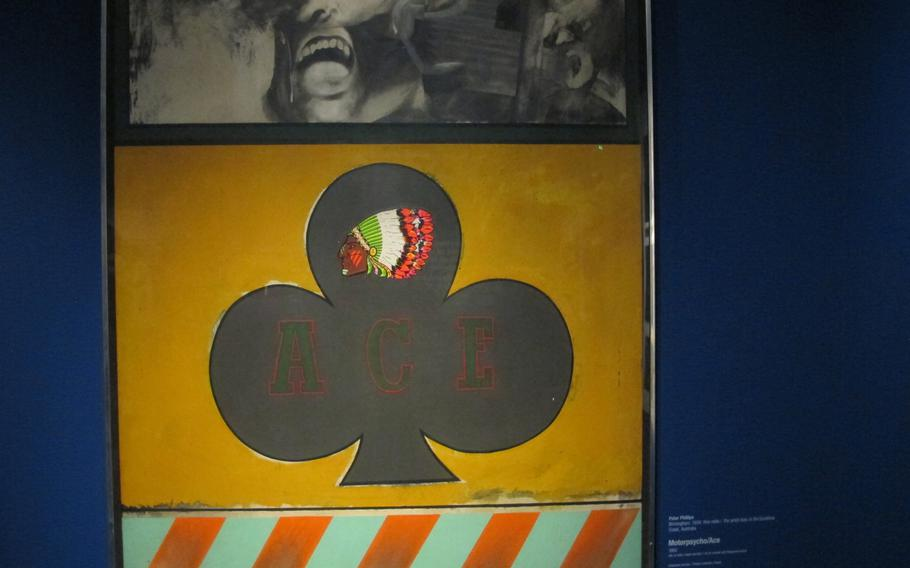 """Canvasses by British pop artist Peter Phillips, like """"Motorpsycho/Ace"""", created in 1962, are said to comment on mass society and its myths. Phillips' work is ncluded in Gallerie d'Italia's exhibition in Vicenza, Italy, exploring the idea of the future from the 1960s to the present."""