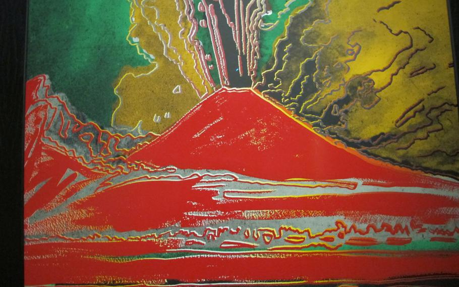 """Andy Warhol's """"Vesuvius (red)"""" serigraph made in 1985 is one of three Warhol works in Gallerie d'Italia's exhibition in Vicenza, Italy, exploring the idea of the future from the 1960s to the present."""