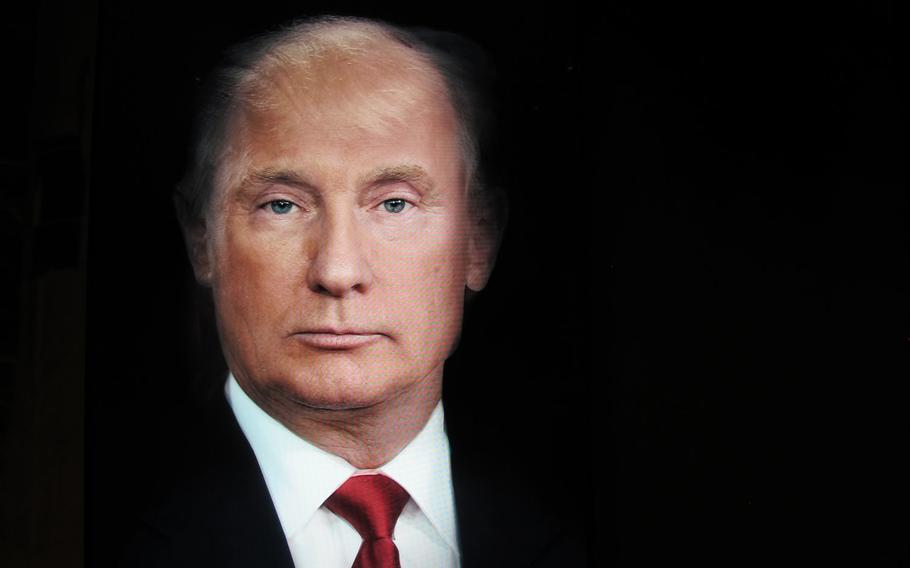 """Visual artist Nancy Burson created this color video animation titled """"Trump/Putin"""" along with a merged composite photo of the two men for TIME magazine's July 30, 2018 edition. The video, which endlessly morphs Trump's face into Putin's, and then back again, is included in Gallerie d'Italia's exhibition in Vicenza, Italy, which explores the idea of the future from the 1960s to the present."""
