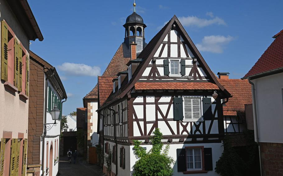 Half-timbered houses and cobblestone streets make for an attractive old town center in Bad Bergzabern, Germany.
