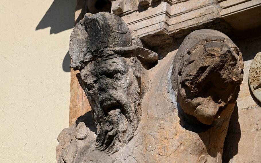 This guy guarding a gate to the Bad Bergzabern palace has seen better days. The palace was built in the 16th century and now houses the city administration.