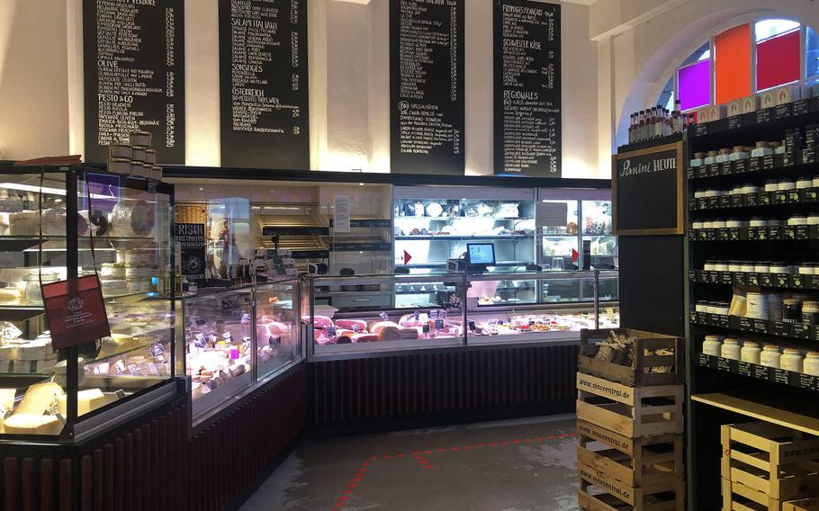 The delicatessen at Vinocentral in Darmstadt, Germany. Here you can buy antipasti, ham, salami, cheese and much more that goes great with wine. It is also a popular lunch or afternoon spot where you can get various focacce and panini.