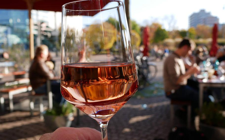 A glass of Cotes de Provence rose wine at Vinocentral in Darmstadt, Germany.