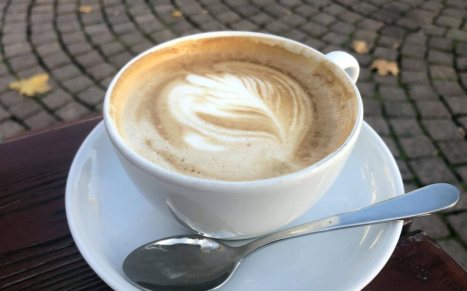 A cappuccino at Vinocentral in Darmstadt, Germany. The wine bar/delicatessen across from the city's main train station got its start 25 years ago as coffee bar, where you could enjoy an espresso or cappuccino, then select from a variety of roasts to drink at home.