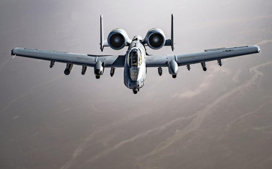 A U.S. Air Force A-10 Thunderbolt II flies over Afghanistan, March 12, 2018. The Air Force's 2022 budget proposal calls for cutting 42 of the attack jets, traditional favorites of pilots and ground troops.
