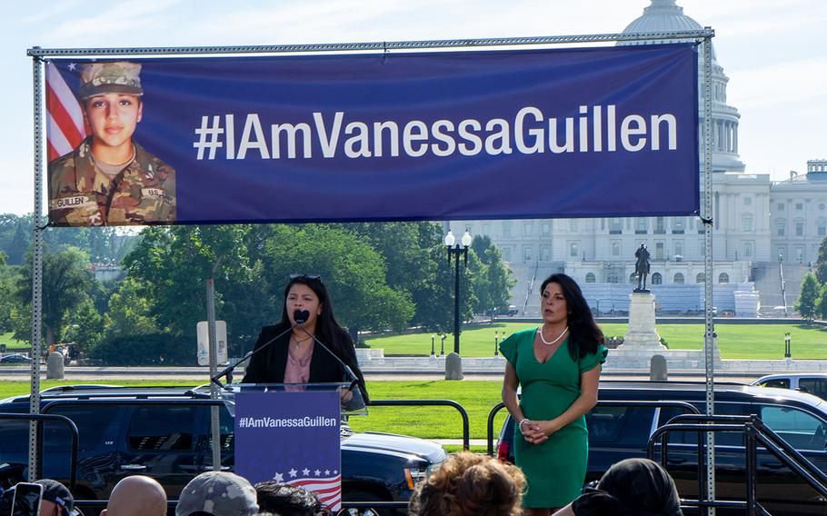 Lupe Guillen, left, speaks at a rally for her sister, slain Army Spc. Vanessa Guillen, near the Capitol in Washington on Thursday, July 30, 2020. At right is Guillen family lawyer Natalie Khawam.