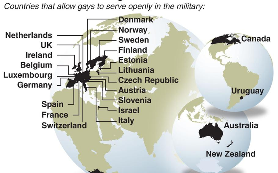 Chart shows the countries that let gays service openly in the military.