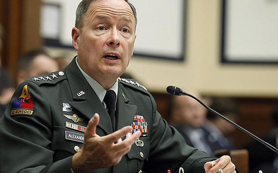 Army Gen. Keith B. Alexander, head of the U.S. Cyber Command, testifies last week on Capitol Hill before the House Armed Services Committee.