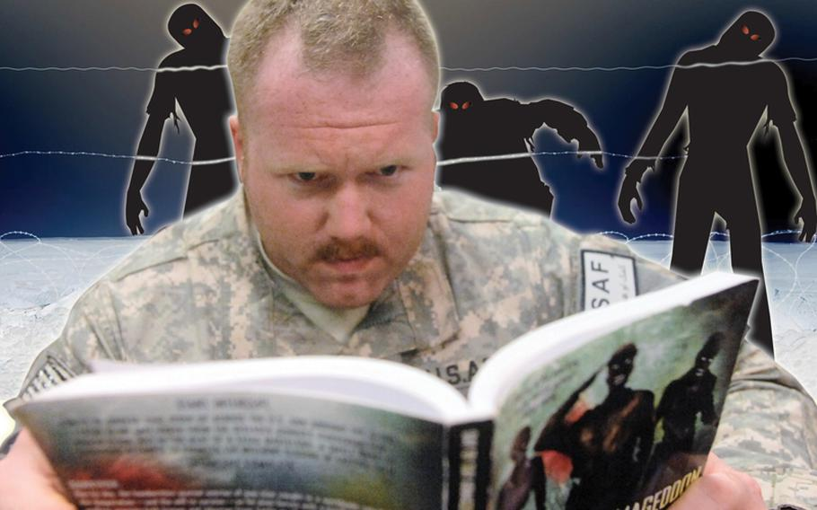 Capt. Matt Frost, 26, of Georgetown, Ill., reads about zombies at Spin Boldak on Sept. 23.