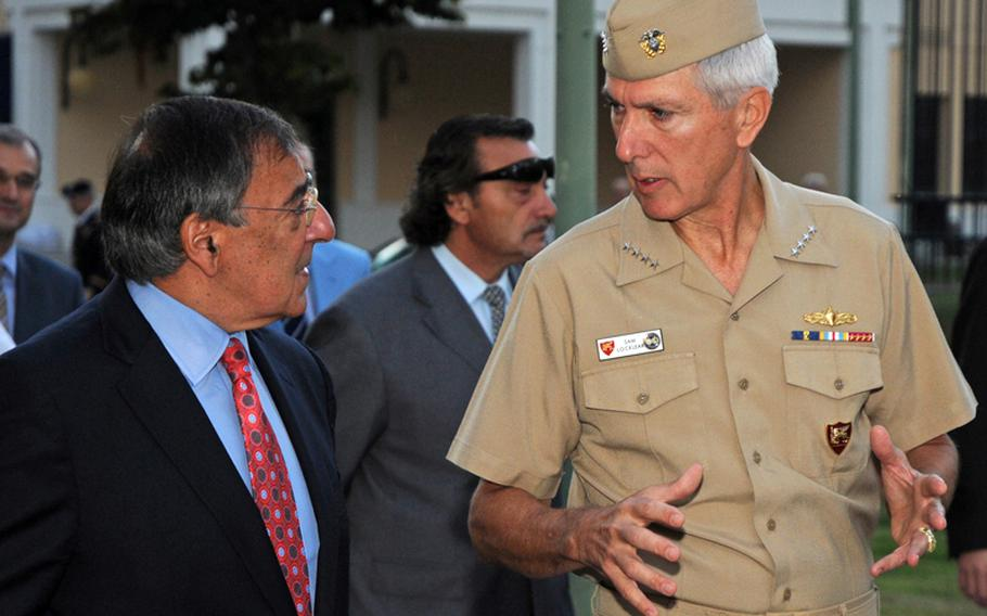 Adm. Samuel Locklear III, right, commander, U.S. Naval Forces Europe-Africa, and commander, Allied Joint Forces Command Naples, talks with Secretary of Defense Leon Panetta on the way to a briefing at Naval Support Activity Naples, Italy, in October, 2011. Locklear has been nominated to be the next commander of U.S. Pacific Command.