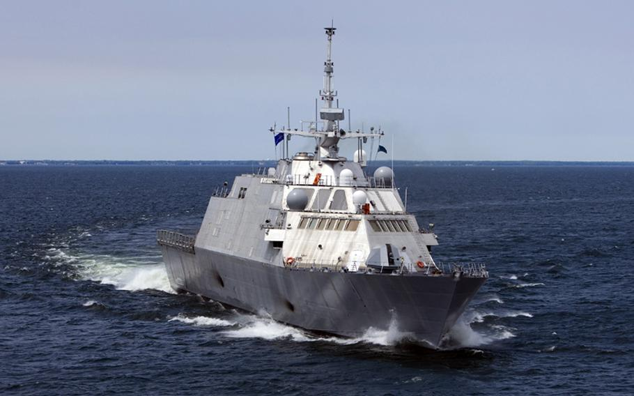 The first U.S. Navy Littoral Combat Ship, Freedom (LCS 1), during trials in July, 2008. The ship is designed for littoral, or close-to-shore, operations.