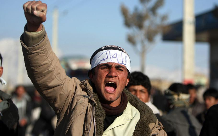 Afghan protesters shout anti-U.S slogans during a demonstration in Kabul, Afghanistan, on February 24, 2012. Protests against alleged Quran burning by U.S. troops entered the fourth day on Friday.