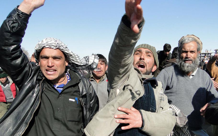 Anti-American protesters gathered on February 24, 2012, in central Kabul, near the Afghan presidential palace, on the fourth day of demonstrations against the burning of Qurans at U.S.-run base.