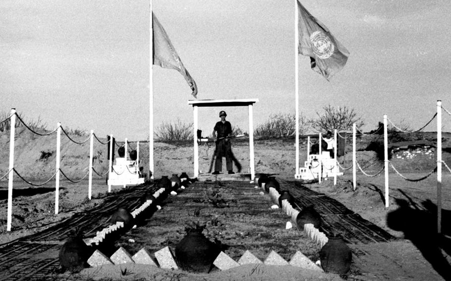 A well-guarded U.N. border crossing on the Gaza Strip in 1958.