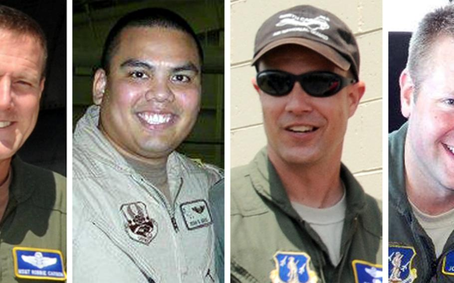 The four airmen who were killed in the crash of a firefighting C-130 are, left to right: Senior Master Sgt. Robert S. Cannon, Maj. Ryan S. David, Lt. Col. Paul K. Mikeal and Maj. Joseph M. McCormick. The C-130 belonged to the 145th Airlift Wing, North Carolina Air National Guard.