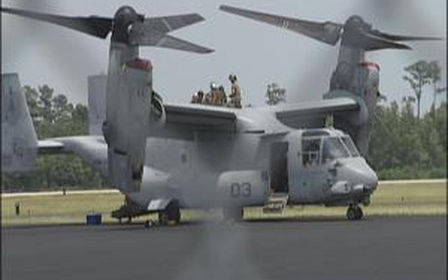 This MV-22B Osprey made an emergency landing at North Carolina's Wilmington International Airport due to some trouble with the plane's drive shaft during a training flight July 9, 2012.