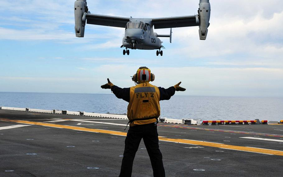 An MV-22 Osprey lands on the USS Makin Island amphibious assault ship in the Pacific Ocean on March 1, 2011.