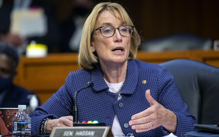 Sen. Maggie Hassan, D-N.H., questions Secretary of Health and Human Services Xavier Becerra and Secretary of Education Miguel Cardona as they testify before a Senate Health, Education, Labor, and Pensions Committee hearing, Thursday, Sept. 30, 2021 on Capitol Hill in Washington.