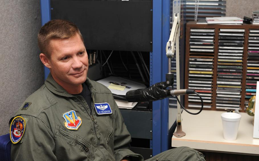 Lt. Col. James Wilkerson speaks as the then 20th Fighter Wing chief of safety at Shaw Air Force Base, S.C., Aug. 11, 2008.