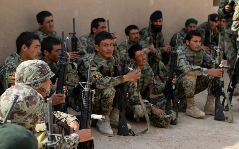 Afghan National Army soldiers listen to a class on proper patrol movements during their reception, staging, onward movement and integration training, Oct. 11, 2012. The ANA soldiers simulated various possible scenarios including ambushes, indirect fire and improvised explosive devices.
