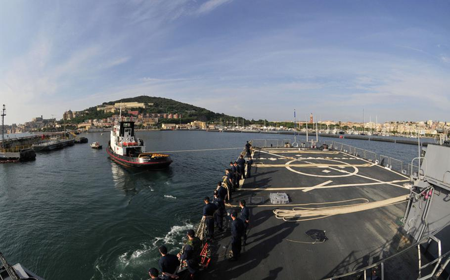 The Arleigh Burke-class guided-missile destroyer USS Barry makes a scheduled port visit to Gaeta, Italy.