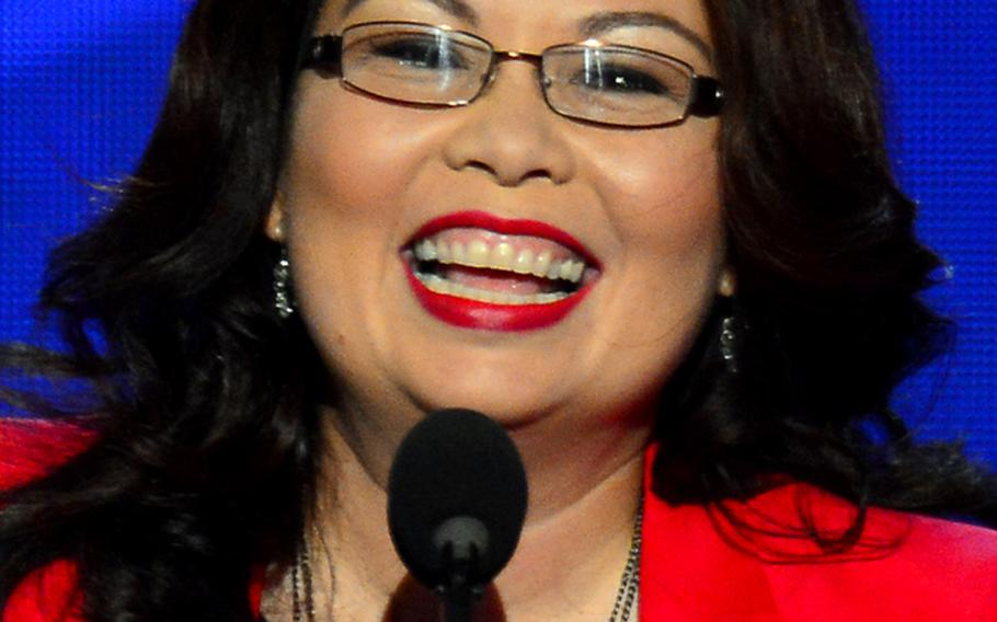 Congressional candidate Tammy Duckworth speaks to the delegates at the Democratic National Convention on September 4, 2012.