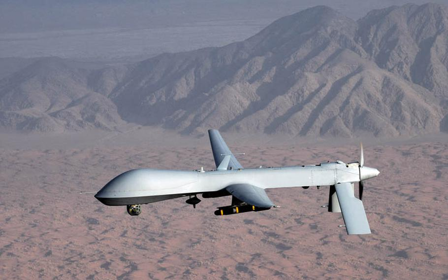 An MQ-1 Predator drone. Iranian jets shot at a U.S. Predator drone flying a surveillance mission over international waters in the Persian Gulf but missed, the Pentagon said Thursday.