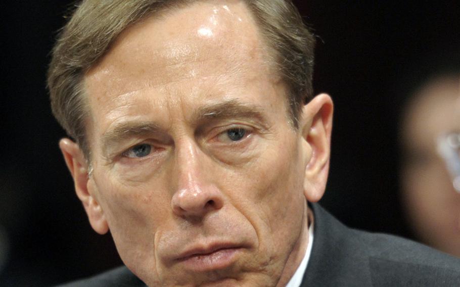 CIA Director David Petraeus testifies on Capitol Hill in Washington on Feb. 2, 2012. Petraeus has resigned because of an extramarital affair.