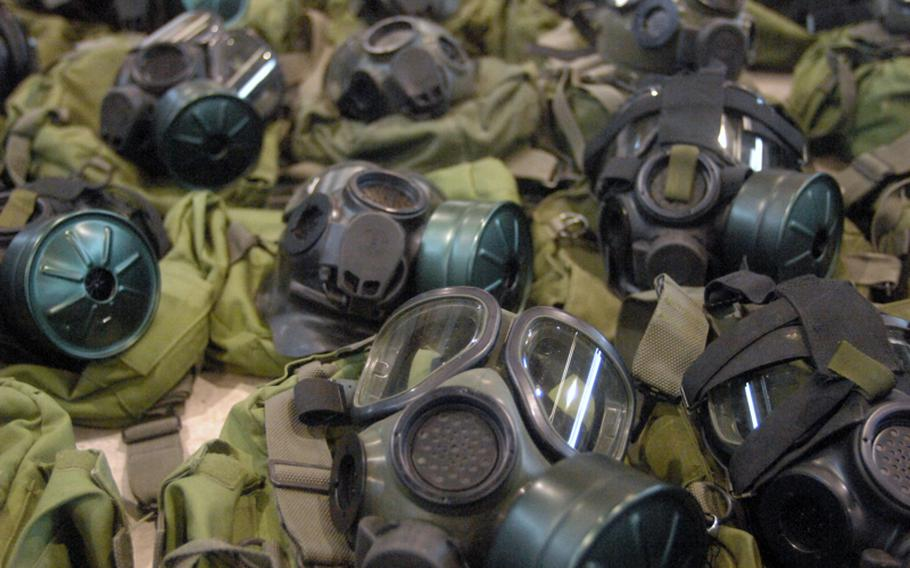 Chemical masks are among the gear being turned in by soldiers with the 172nd Separate Infantry Brigade in Grafenwöhr, Germany, as the brigade approaches a scheduled inactivation next year.