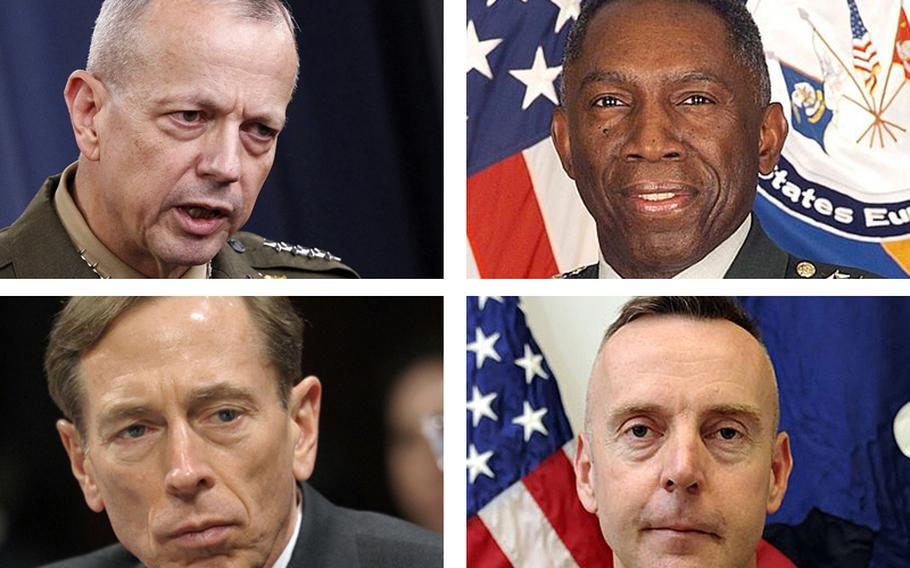 Clockwise from top left: Gen. John Allen, Gen. William Ward, Brig. Gen. Jeffrey Sinclair and ex-CIA Director David Petraeus.