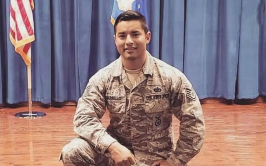 Air Force Sgt. Steven Carrillo, shown here in an undated photo posted to social media, has been charged with the killings of Federal Protective Service Officer Dave Patrick Underwood in May 2020 and Santa Cruz Sheriff's Sgt. Damon Gutzwiller the following month.