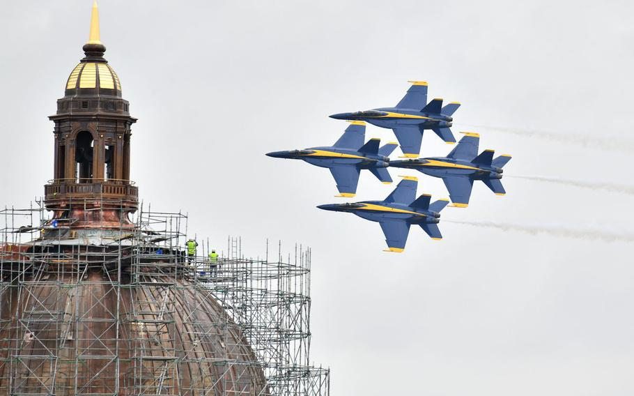 The Blue Angels perform their Naval Academy Commissioning Week air show over Annapolis, Md., Wednesday, May 26, 2021.