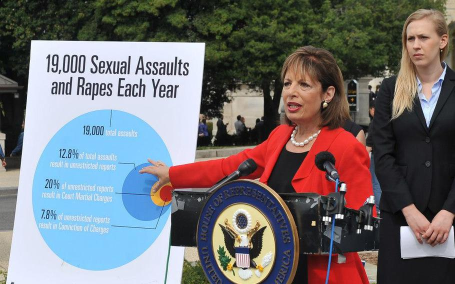 Rep. Jackie Speier, D-Calif., speaks at the U.S. Capitol, April 17, 2013, next to a graphic that says there are an estimated 19,000 rapes and sexual assaults in the military each year.