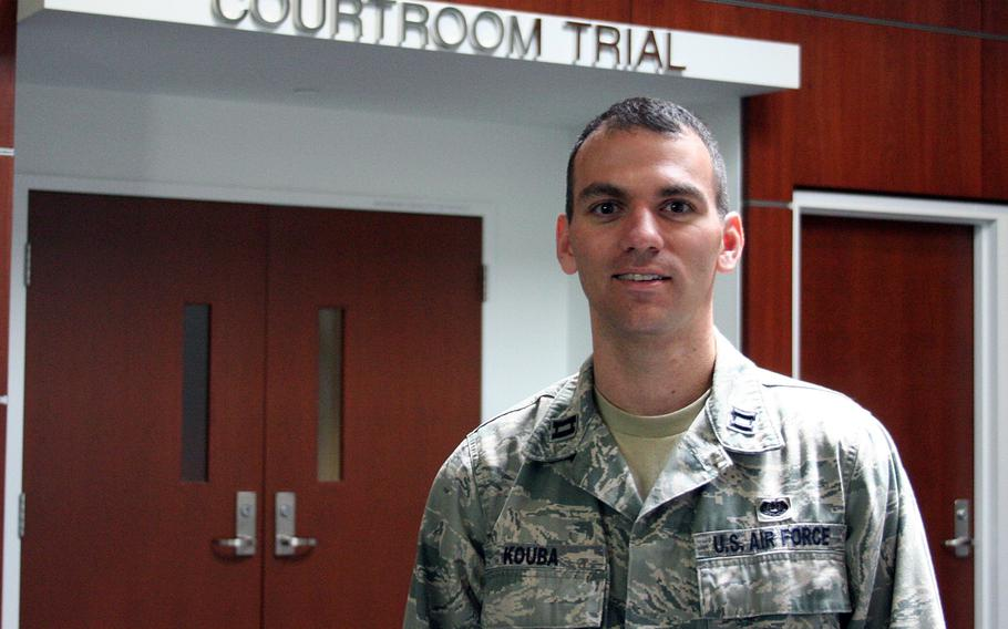 Capt. Dustin Kouba stands outside a courtroom at Andrews Air Force Base, Md., is one of 24 special victims counsels the Air Force has established worldwide to represent sexual assault victims as their cases wind through the legal system.