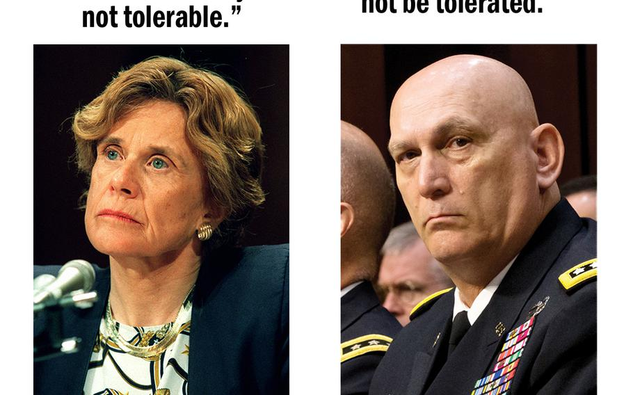 Air Force Secretary Sheila Widnall testifies before Congress in 1997 and Army Chief of Staff Ray Odierno does the same in 2013.
