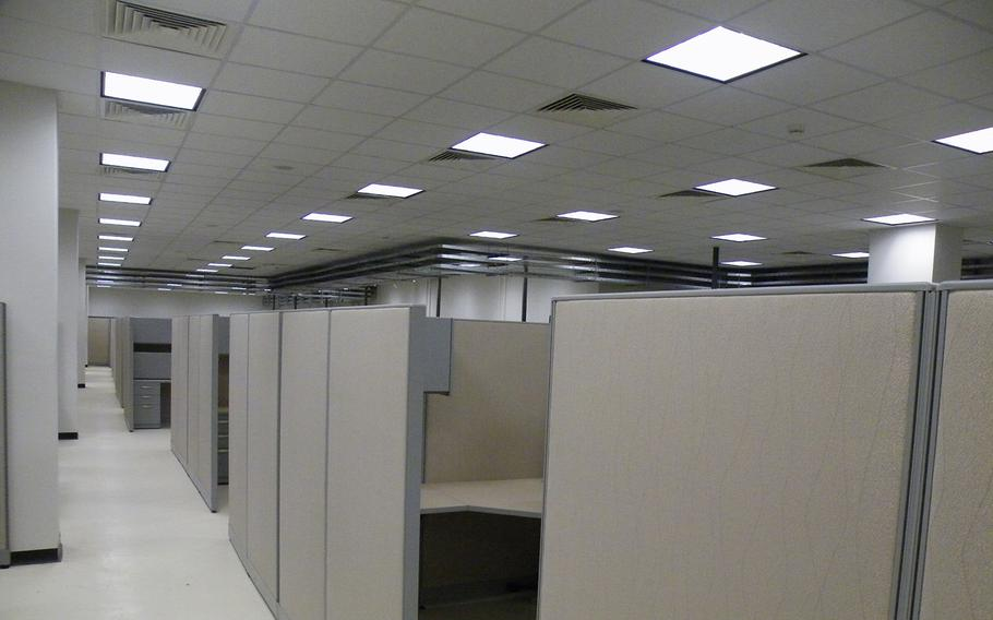 Cubicles at the Regional Command-Southwest Command and Control Facility, a 64,000-square-foot structure built under a $34 million contract to serve as a command headquarters at Camp Leatherneck in Helmand, Afghanistan, despite the objections of senior officers.