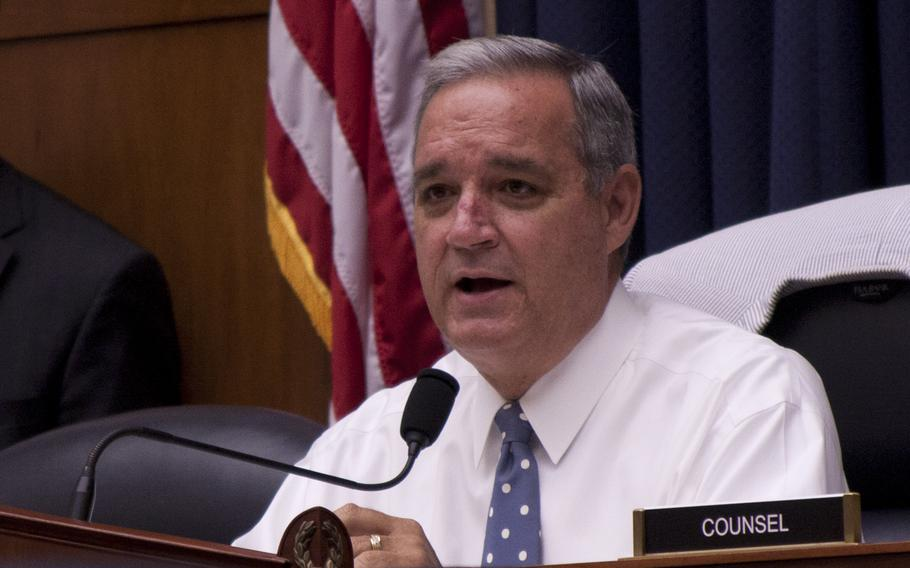 House Veterans Affairs Committee Chairman Rep. Jeff Miller, R-Fla., grills a panel of Defense Department and Veterans Affairs officials about lifelong electronic medical records for servicemembers at a joint Congressional hearing on July 10, 2013, in Washington, D.C.