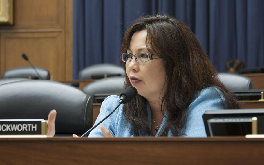 Rep. Tammy Duckworth speaks at a joint Congressional hearing about on July 10, 2013 in Washington, D.C.