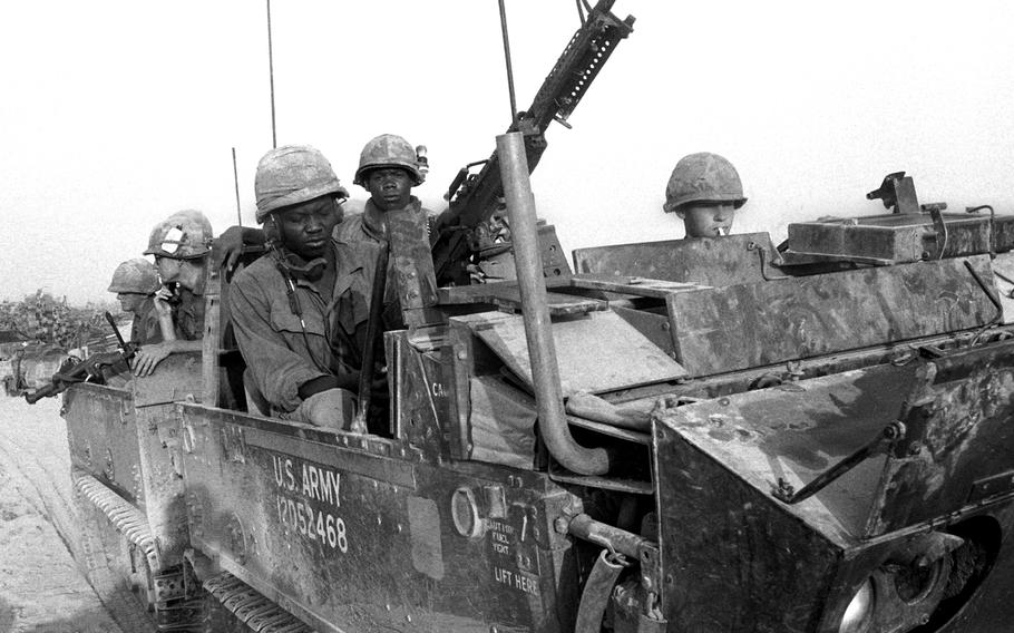 American troops on the move near the Cambodian border in April, 1969.