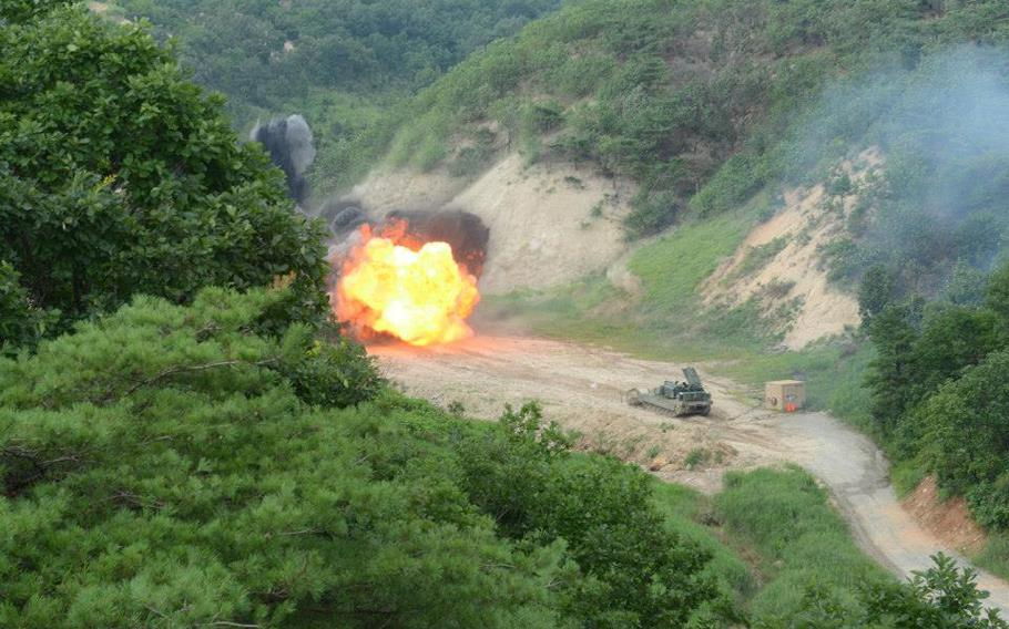 Soldiers from the 2nd Infantry Division train with an Assault Breacher Vehicle (ABV) -- nicknamed 'The Shredder' -- during a media demonstration at the Rodriguez Live Fire Complex in South Korea, Aug. 14, 2013.
