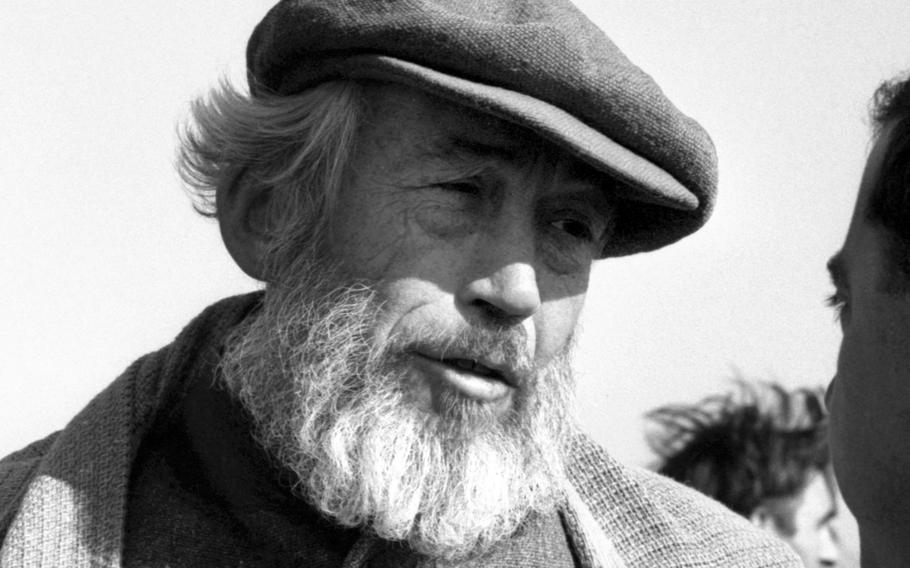 """Director John Huston on the set of """"The Bible"""" in Italy in 1964."""