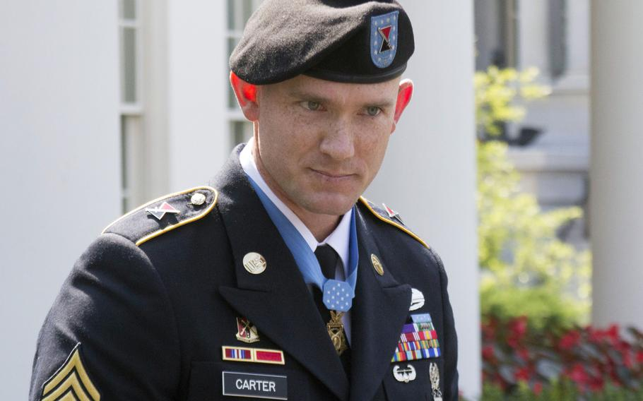 Army Staff Sgt. Ty Carter, outside the White House after being awarded the Medal of Honor on August 26, 2013.