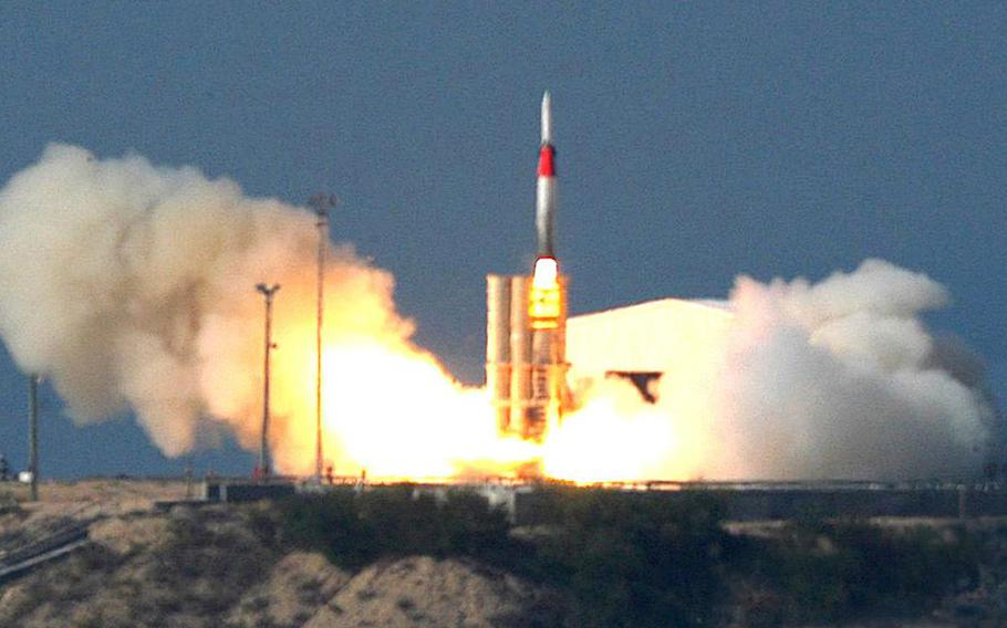 This file photo, taken on Friday Dec. 2, 2005, released  by Israel Aircraft Industries Ltd., shows an Arrow missile being launched at an undisclosed location in Israel. Israel and the U.S. conducted a joint missile test over the Mediterranean on Tuesday, Sept. 3, 2013.
