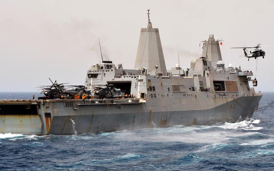The amphibious transport dock ship USS San Antonio, at sea in July, 2013.