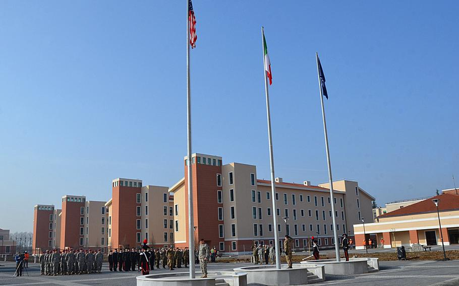 The Italian, American and NATO flags were raised for the first time at Caserma Del Din on March 1, 2013.