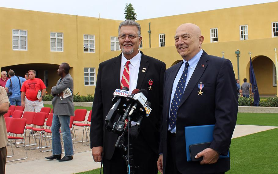 Bobby Moffatt, left, and Joe Cordileone were decorated Friday, Sept. 20, 2013, with the Bronze Star with V for combat valor and the Silver Star, respectively, for their actions in April 1967 during the Battle of Khe Sanh in Vietnam.