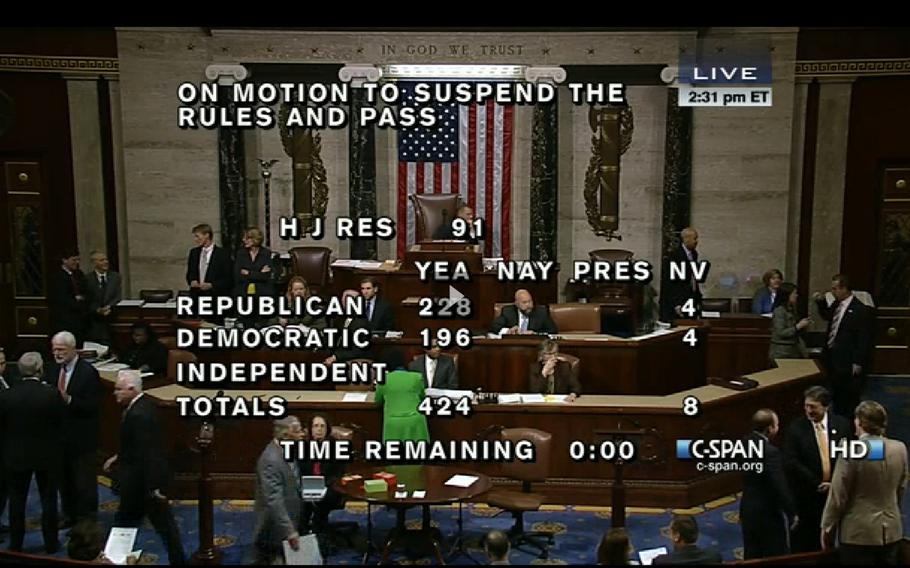 A screen capture from C-SPAN coverage of Wednesday's vote on military survivor benefits.
