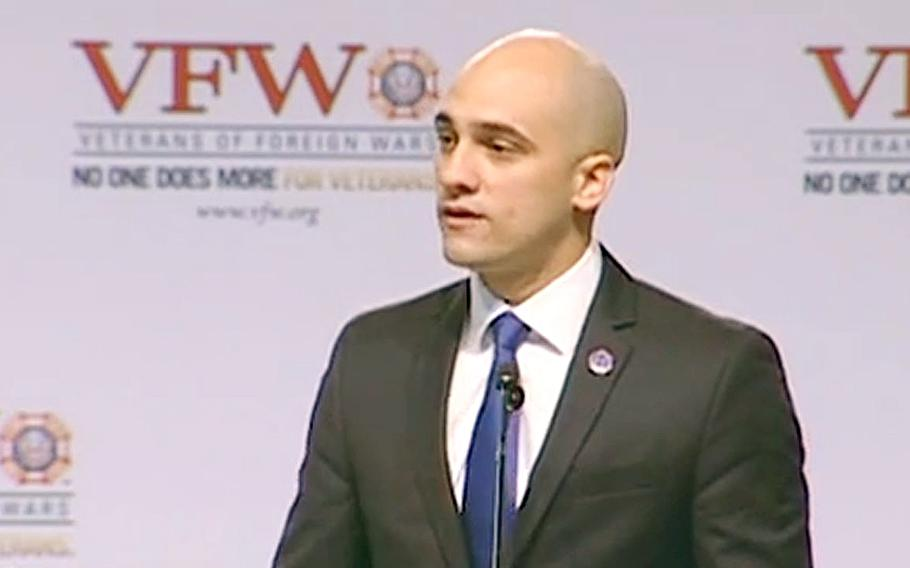 A YouTube video screen grab shows Michael Dakduk, the Student Veterans of America executive director speaking in Louisville, Ky., on Aug. 4, 2013.