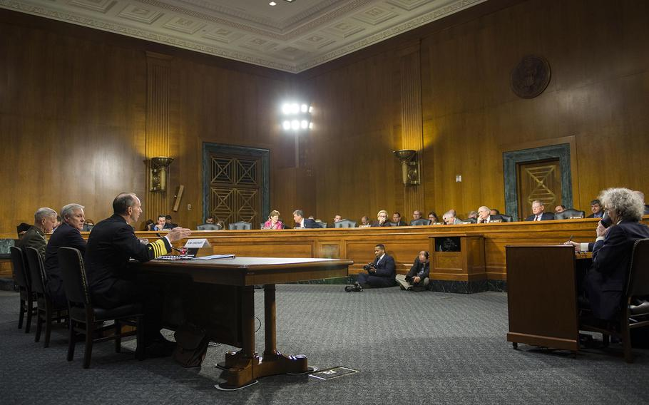Chief of Naval Operations Adm. Jonathan Greenert testifies with Secretary of the Navy Ray Mabus and Commandant of the Marine Corps Gen. James Amos before the Senate Armed Services Committee on April 25, 2013.