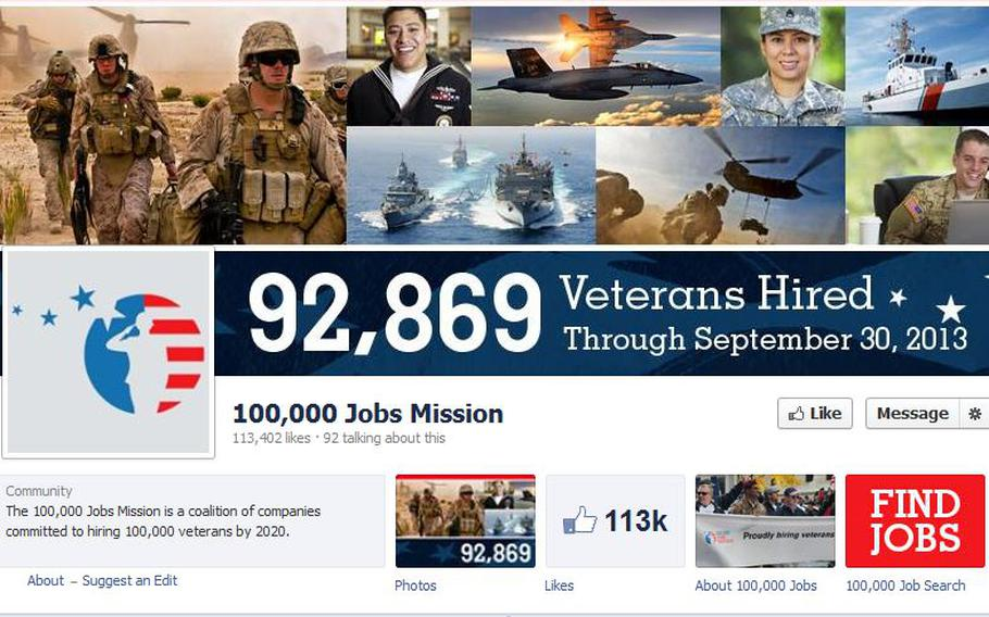 A screen grab of the Facebook page for the 100,000 Jobs Mission shows their latest tally of 92,869 veterans hired, as of Sept. 30, 2013.